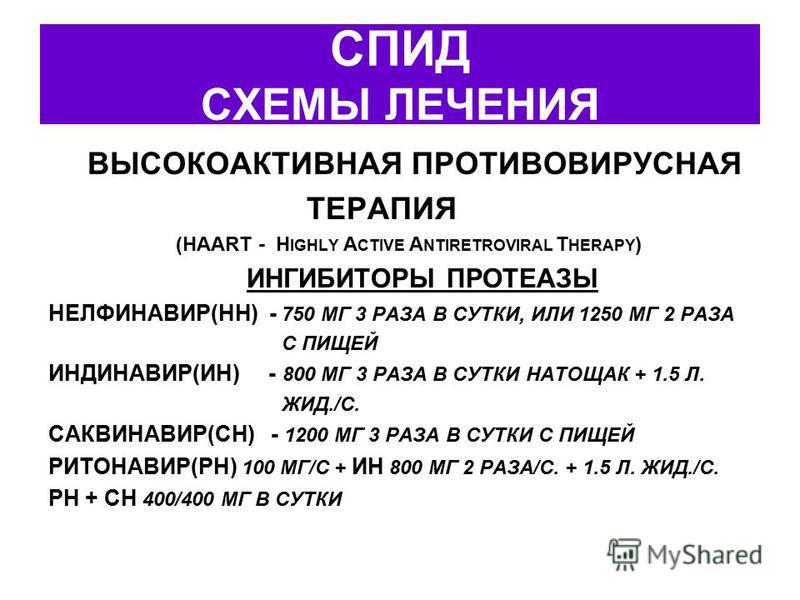 СПИД СХЕМЫ ЛЕЧЕНИЯ ВЫСОКОАКТИВНАЯ ПРОТИВОВИРУСНАЯ ТЕРАПИЯ (HAART - H IGHLY A CTIVE A NTIRETROVIRAL T HERAPY ) ИНГИБИТОРЫ ПРОТЕАЗЫ НЕЛФИНАВИР(НН) - 750 МГ 3 РАЗА В СУТКИ, ИЛИ 1250 МГ 2 РАЗА С ПИЩЕЙ ИНДИНАВИР(ИН) - 800 МГ 3 РАЗА В СУТКИ НАТОЩАК + 1.5 Л