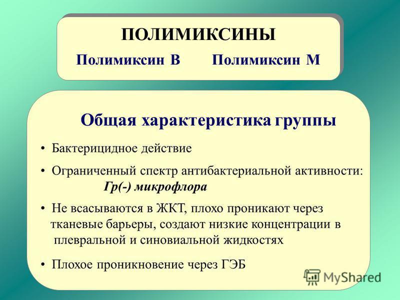 ПОЛИМИКСИНЫ Полимиксин В Полимиксин М ПОЛИМИКСИНЫ Полимиксин В Полимиксин М Общая характеристика группы Бактеривидное действие Ограниченный спектр антибактериальной активности: Гр(-) микрофлора Не всасываются в ЖКТ, плохо проникают через тканевые бар