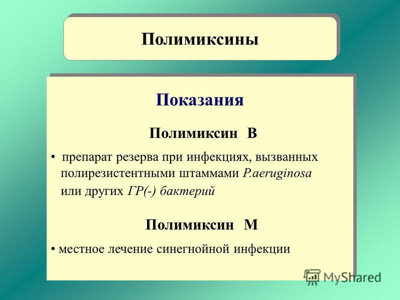 Показания Полимиксин В препарат резерва при инфекциях, вызванных полирезистентными штаммами P.aeruginosa или других ГР(-) бактерий Полимиксин М местное лечение синегнойной инфекции Показания Полимиксин В препарат резерва при инфекциях, вызванных поли