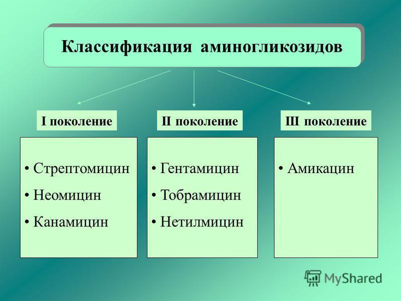 Классификация аминогликозидов Стрептомицин Неомицин Канамицин Гентамицин Тобрамицин Нетилмицин Амикацин I поколениеII поколениеIII поколение