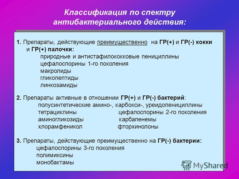 Классификация по спектру антибактериального действия: 1. Препараты, действующие преимущественно на ГР(+) и ГР(-) кокки и ГР(+) палочки: природные и антистафилококковые пенициллины цефалоспорины 1-го поколения макролиды гликопептиды линкозамиды 2. Пре