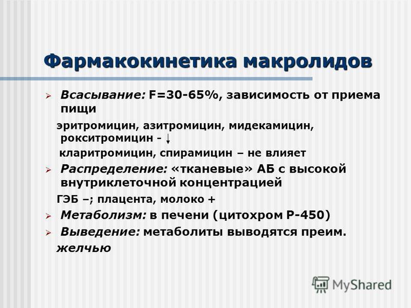 Фармакокинетика макролидов Всасывание: F=30-65%, зависимость от приема пищи эритромицин, азитромицин, мидекамицин, рокситромицин - кларитромицин, спирамицин – не влияет Распределение: «тканевые» АБ с высокой внутри клеточной концентрацией ГЭБ –; плац