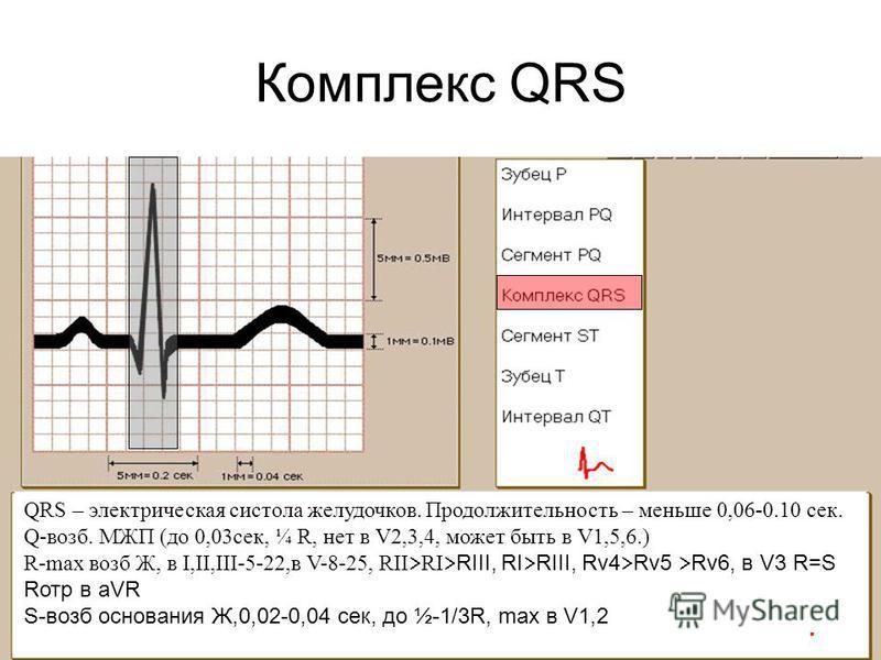 Комплекс QRS QRS – электрическая систола желудочков. Продолжительность – меньше 0,06-0.10 сек. Q-возб. МЖП (до 0,03 сек, ¼ R, нет в V2,3,4, может быть в V1,5,6.) R-max возб Ж, в I,II,III-5-22,в V-8-25, RII RI RIII, RI RIII, Rv4 Rv5 Rv6, в V3 R=S Rотр