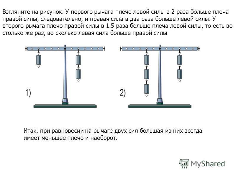 Взгляните на рисунок. У первого рычага плечо левой силы в 2 раза больше плеча правой силы, следовательно, и правая сила в два раза больше левой силы. У второго рычага плечо правой силы в 1.5 раза больше плеча левой силы, то есть во столько же раз, во