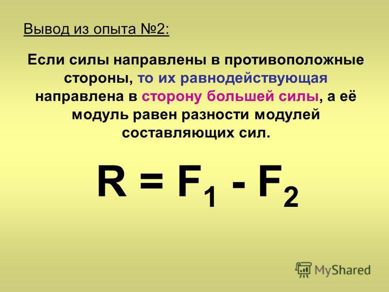Вывод из опыта 2: Если силы направлены в противоположные стороны, то их равнодействующая направлена в сторону большей силы, а её модуль равен разности модулей составляющих сил. R = F 1 - F 2