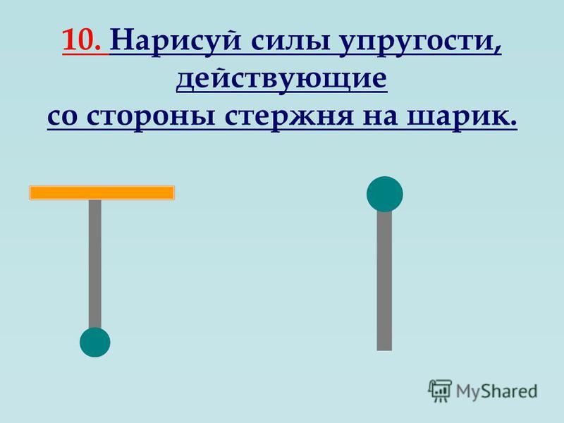 10. Нарисуй силы упругости, действующие со стороны стержня на шарик.