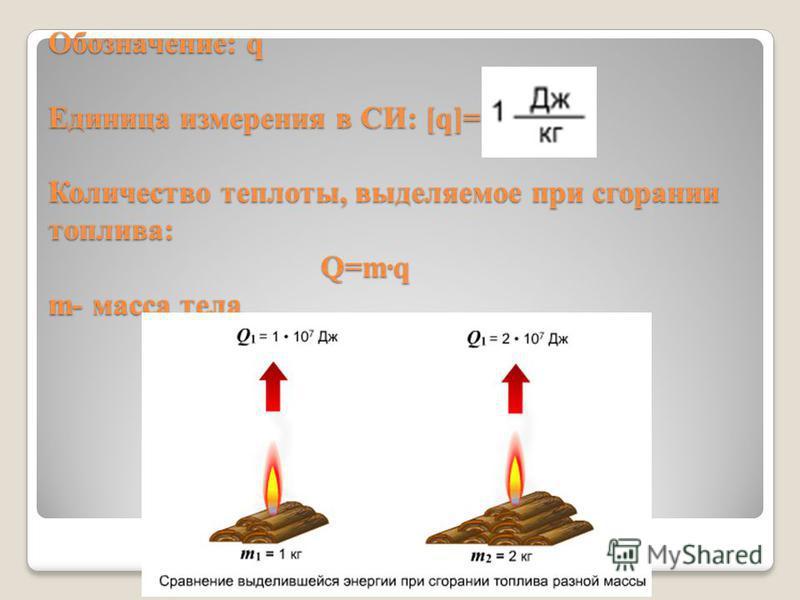 Обозначение: q Единица измерения в СИ: [q]= Количество теплоты, выделяемое при сгорании топлива: Q=m·q m- масса тела