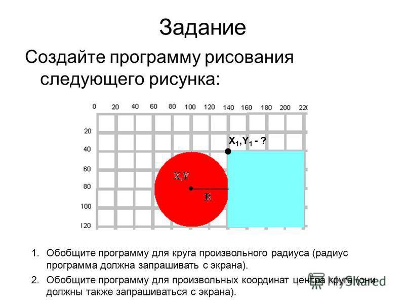 Задание Создайте программу рисования следующего рисунка: X 1,Y 1 - ? 1. Обобщите программу для круга произвольного радиуса (радиус программа должна запрашивать с экрана). 2. Обобщите программу для произвольных координат центра круга (они должны также