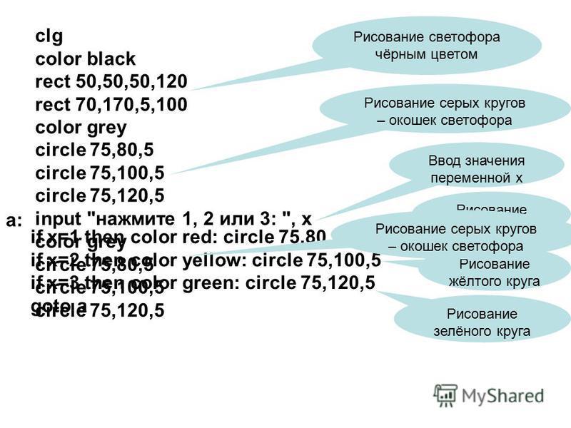 clg color black rect 50,50,50,120 rect 70,170,5,100 color grey circle 75,80,5 circle 75,100,5 circle 75,120,5 input
