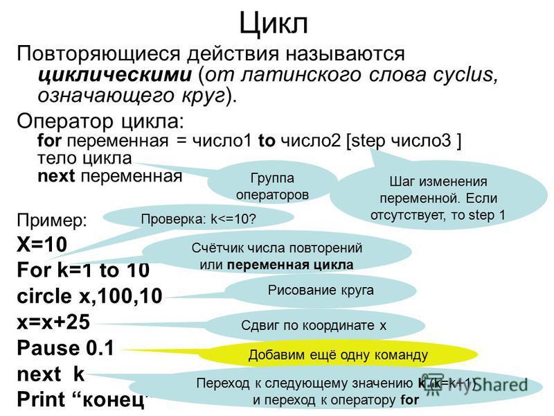 Цикл Повторяющиеся действия называются циклическими (от латинского слова cyclus, означающего круг). Оператор цикла: for переменная = число 1 to число 2 [step число 3 ] тело цикла next переменная Пример: X=10 For k=1 to 10 circle x,100,10 x=x+25 Pause
