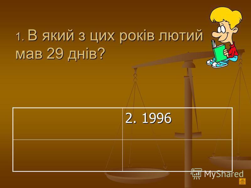 1. В який з цих років лютий мав 29 днів? 2. 1996