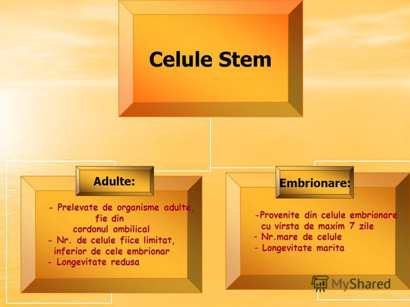 Celule Stem - Prelevate de organisme adulte, fie din cordonul ombilical - Nr. de celule fiice limitat, inferior de cele embrionar - Longevitate redusa Adulte: -Provenite din celule embrionare cu virsta de maxim 7 zile Nr.mare de celule Longevitate ma