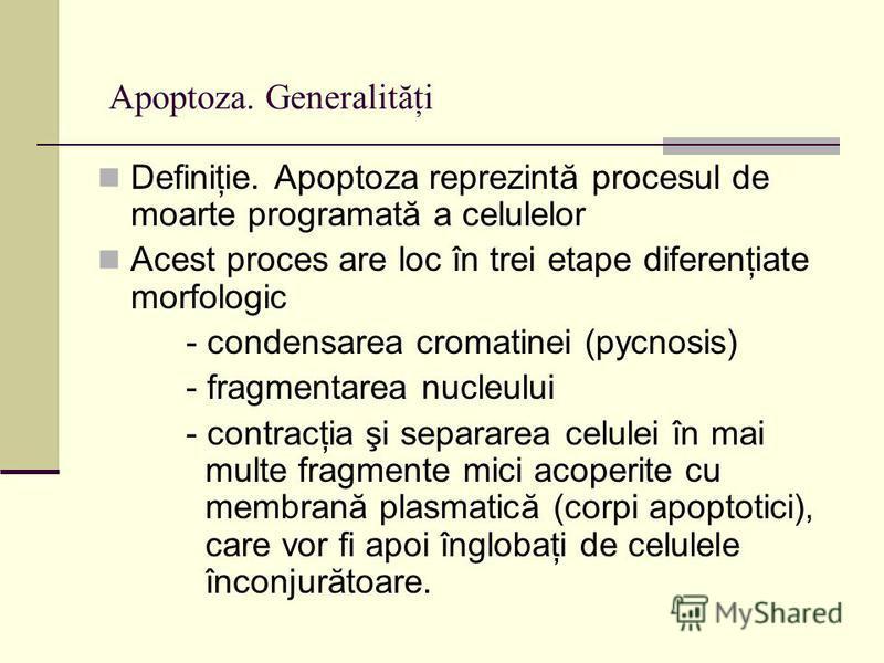 Apoptoza. Generalităţi Definiţie. Apoptoza reprezintă procesul de moarte programată a celulelor Acest proces are loc în trei etape diferenţiate morfologic - condensarea cromatinei (pycnosis) - fragmentarea nucleului - contracţia şi separarea celulei
