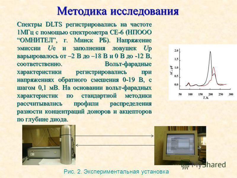 Методика исследования Спектры DLTS регистрировались на частоте 1МГц с помощью спектрометра СЕ-6 (НПООО ОМНИТЕЛ, г. Минск РБ). Напряжение эмиссии Ue и заполнения ловушек Up варьировалось от –2 В до –18 В и 0 В до -12 В, соответственно. Вольт-фарадные