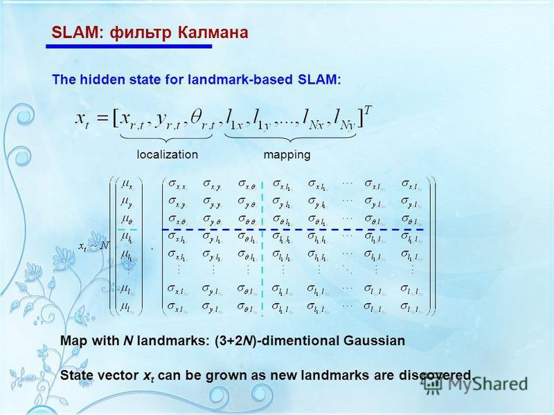 SLAM: фильтр Калмана The hidden state for landmark-based SLAM: localizationmapping Map with N landmarks: (3+2N)-dimentional Gaussian State vector x t can be grown as new landmarks are discovered.