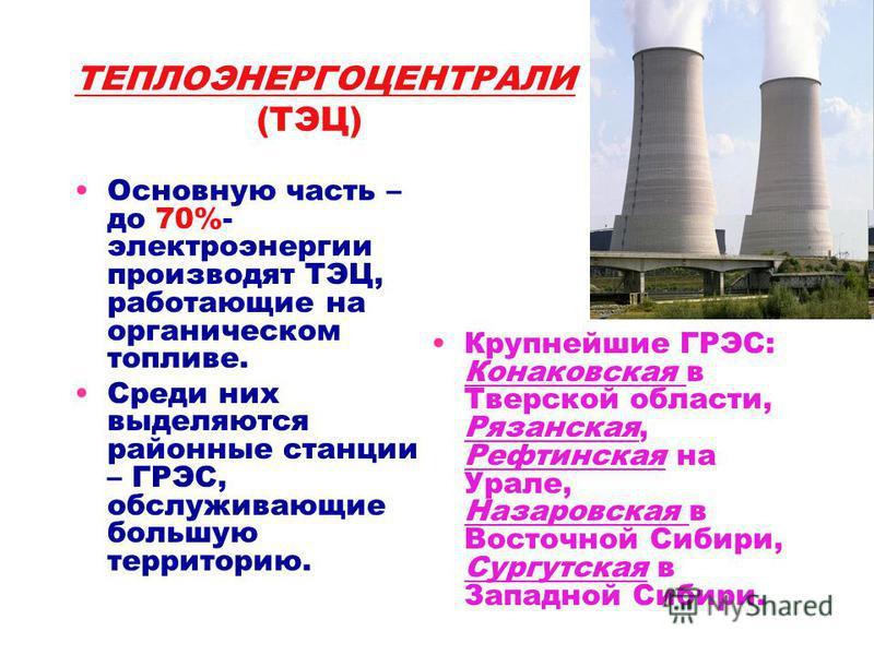 ТЕПЛОЭНЕРГОЦЕНТРАЛИ (ТЭЦ) Основную часть – до 70%- электроэнергии производят ТЭЦ, работающие на органическом топливе. Среди них выделяются районные станции – ГРЭС, обслуживающие большую территорию. Крупнейшие ГРЭС: Конаковская в Тверской области, Ряз
