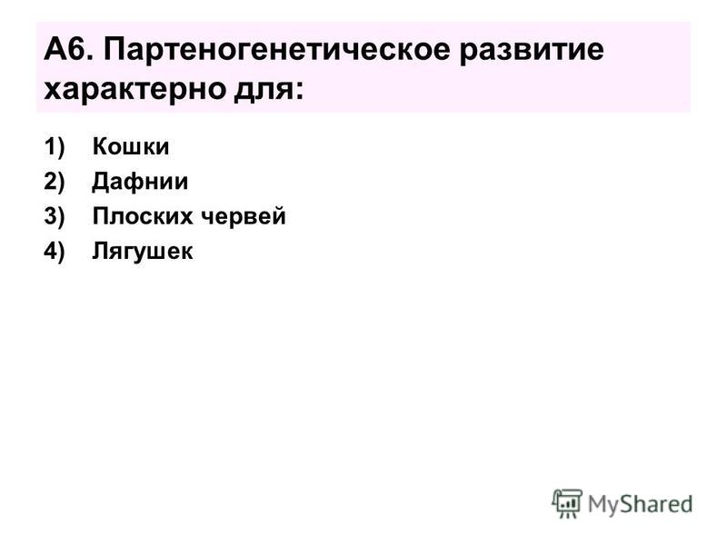 А6. Партеногенетическое развитие характерно для: 1)Кошки 2)Дафнии 3)Плоских червей 4)Лягушек
