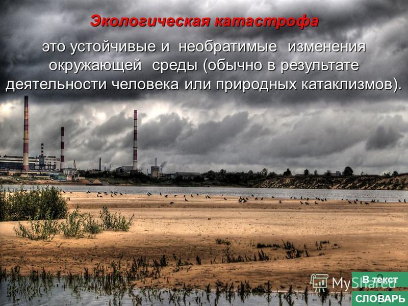 Экологическая катастрофа это устойчивые и необратимые изменения окружающей среды (обычно в результате деятельности человека или природных катаклизмов). СЛОВАРЬ В текст