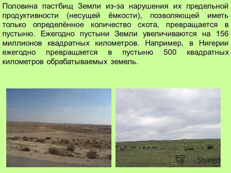 Половина пастбищ Земли из-за нарушения их предельной продуктивности (несущей ёмкости), позволяющей иметь только определённое количество скота, превращается в пустыню. Ежегодно пустыни Земли увеличиваются на 156 миллионов квадратных километров. Наприм