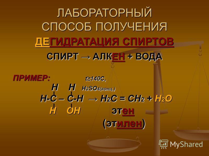 ЛАБОРАТОРНЫЙ СПОСОБ ПОЛУЧЕНИЯ ДЕГИДРАТАЦИЯ СПИРТОВ СПИРТ АЛКЕН + ВОДА ПРИМЕР: t140C, Н Н Н 2 SO 4(конц.) Н Н Н 2 SO 4(конц.) Н-С – С-Н Н 2 С = СН 2 + Н 2 О Н-С – С-Н Н 2 С = СН 2 + Н 2 О Н ОН этьен Н ОН этьен (этилен) (этилен)