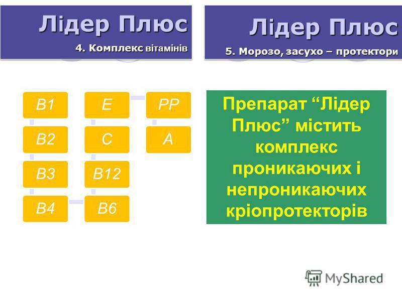 В1В2В3В4В6В12СЕРРА Л і дер Плюс 4. Комплекс вітамінів Л і дер Плюс 4. Комплекс вітамінів Л і дер Плюс 5. Морозо, засухо – протектор и Л і дер Плюс 5. Морозо, засухо – протектор и Препарат Лідер Плюс містить комплекс проникаючих і непроникаючих кріопр