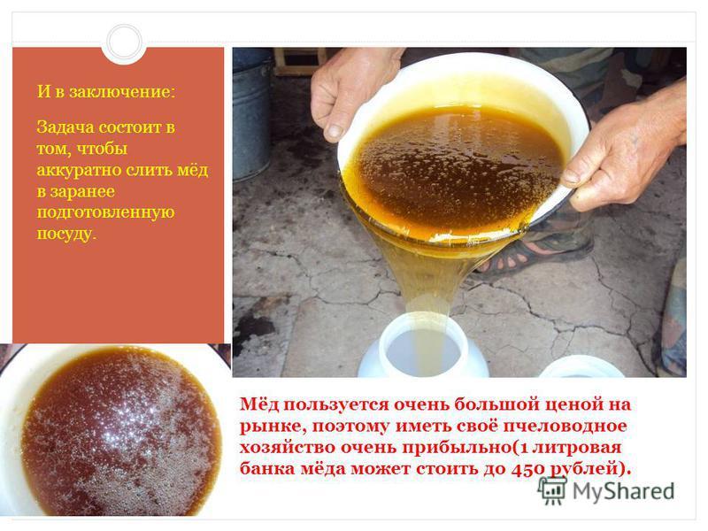 Мёд пользуется очень большой ценой на рынке, поэтому иметь своё пчеловодное хозяйство очень прибыльно(1 литровая банка мёда может стоить до 450 рублей). И в заключение: Задача состоит в том, чтобы аккуратно слить мёд в заранее подготовленную посуду.