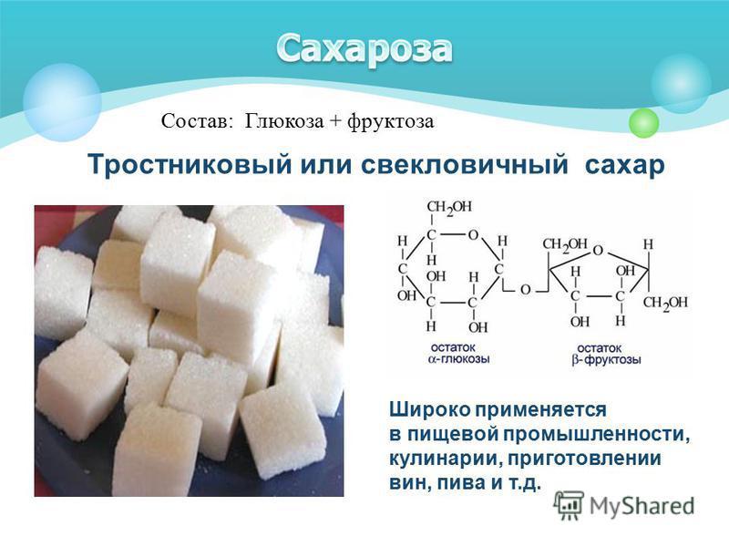 Тростниковый или свекловичный сахар Широко применяется в пищевой промышленности, кулинарии, приготовлении вин, пива и т.д. Состав: Глюкоза + фруктоза