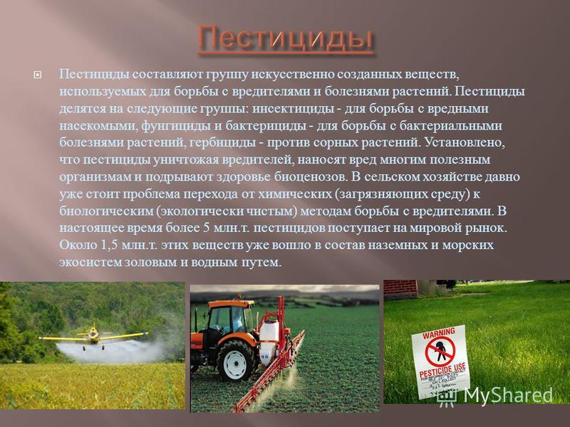 Пестициды составляют группу искусственно созданных веществ, используемых для борьбы с вредителями и болезнями растений. Пестициды делятся на следующие группы : инсектициды - для борьбы с вредными насекомыми, фунгициды и бактерициды - для борьбы с бак