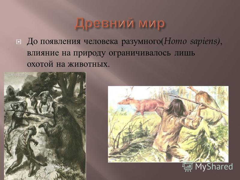 До появления человека разумного ( Homo sapiens), влияние на природу ограничивалось лишь охотой на животных.