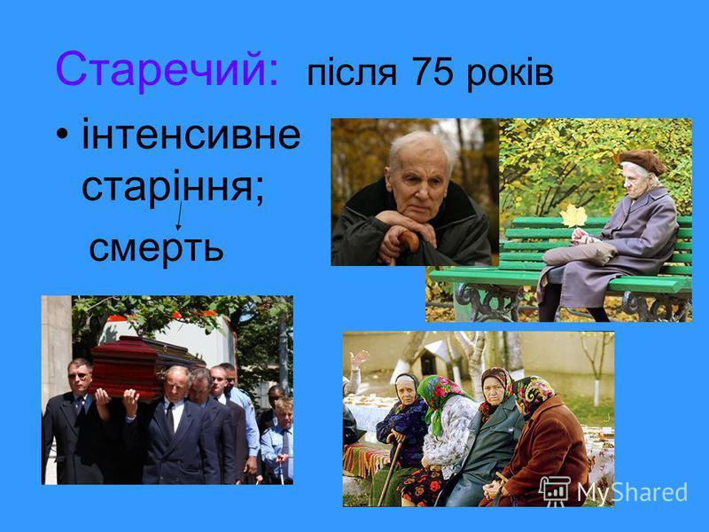 Старечий: після 75 років інтенсивне старіння; смерть