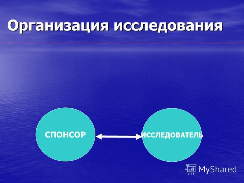 Организация исследования СПОНСОР ИССЛЕДОВАТЕЛЬ