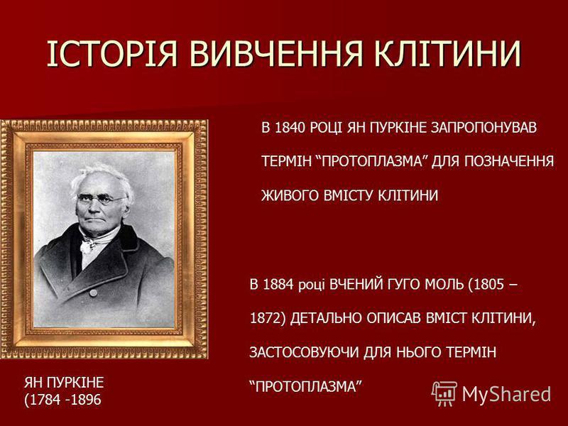 ІСТОРІЯ ВИВЧЕННЯ КЛІТИНИ ЯН ПУРКІНЕ (1784 -1896 В 1840 РОЦІ ЯН ПУРКІНЕ ЗАПРОПОНУВАВ ТЕРМІН ПРОТОПЛАЗМА ДЛЯ ПОЗНАЧЕННЯ ЖИВОГО ВМІСТУ КЛІТИНИ В 1884 році ВЧЕНИЙ ГУГО МОЛЬ (1805 – 1872) ДЕТАЛЬНО ОПИСАВ ВМІСТ КЛІТИНИ, ЗАСТОСОВУЮЧИ ДЛЯ НЬОГО ТЕРМІН ПРОТОП