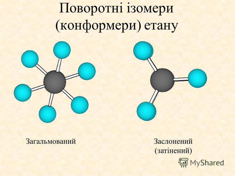 Поворотні ізомери (конформери) етану ЗагальмованийЗаслонений (затінений)