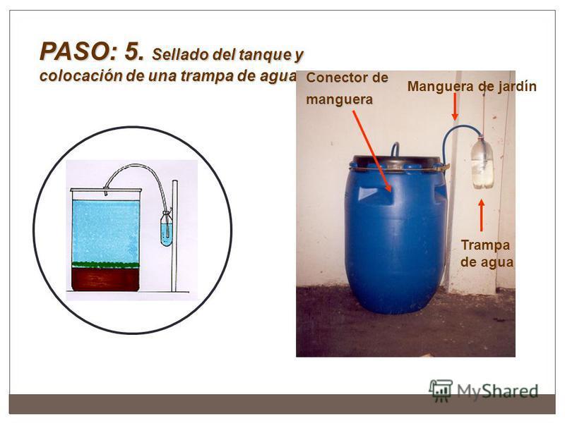 PASO: 5. Sellado del tanque y colocación de una trampa de agua Conector de manguera Manguera de jardín Trampa de agua