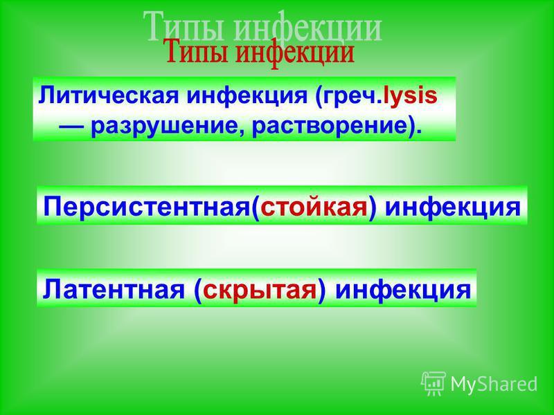 Литическая инфекция (греч.lysis разрушение, растворение). Персистентная(стойкая) инфекция Латентная (скрытая) инфекция