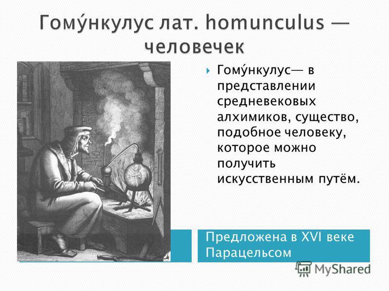 Предложена в XVI веке Парацельсом Гому́нкулус в представлении средневековых алхимиков, существо, подобное человеку, которое можно получить искусственным путём.