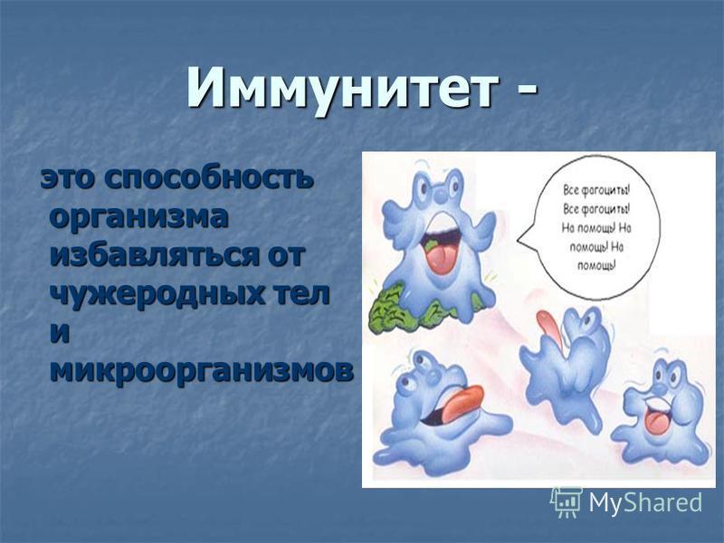 Иммунитет - это способность организма избавляться от чужеродных тел и микроорганизмов это способность организма избавляться от чужеродных тел и микроорганизмов