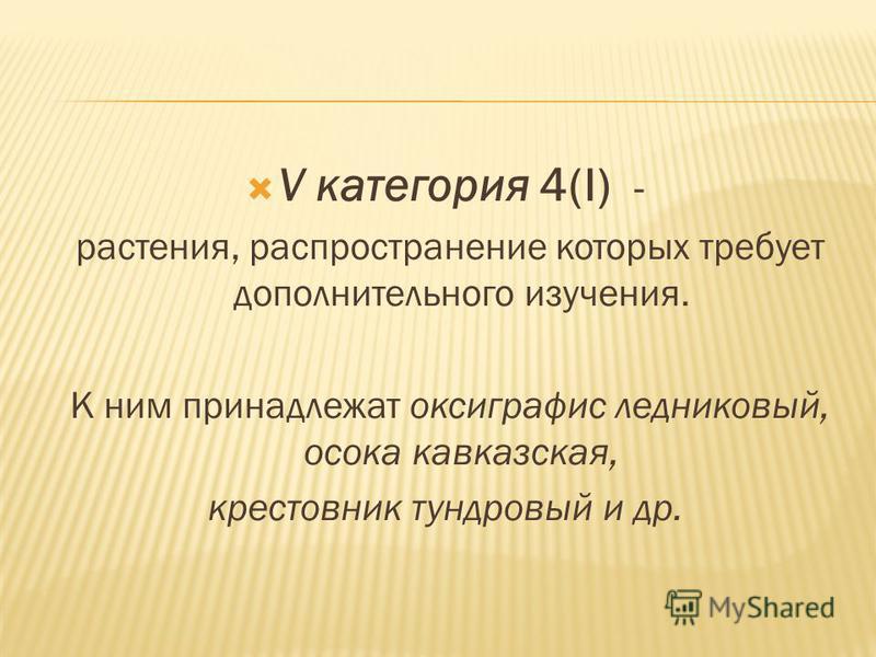 V категория 4(I) - растения, распространение которых требует дополнительного изучения. К ним принадлежат оксиграфис ледниковый, осока кавказская, крестовник тундровый и др.