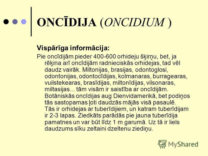 ONCĪDIJA (ONCIDIUM ) Vispārīga informācija: Pie oncīdijām pieder 400-600 orhideju šķirņu, bet, ja rēķina arī oncīdijām radnieciskās orhidejas, tad vēl daudz vairāk. Miltonijas, brasijas, odontoglosi, odontonijas, odontocīdijas, kolmanaras, burrageara