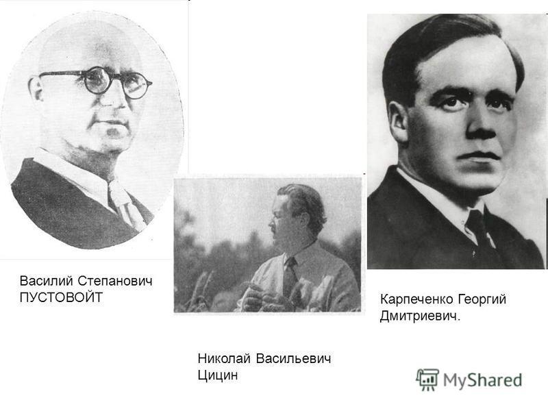 Василий Степанович ПУСТОВОЙТ Карпеченко Георгий Дмитриевич. Николай Васильевич Цицин