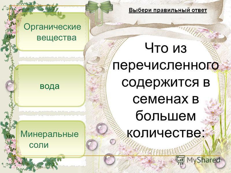 Органические вещества Минеральные соли вода Что из перечисленного содержится в семенах в большем количестве: Выбери правильный ответ