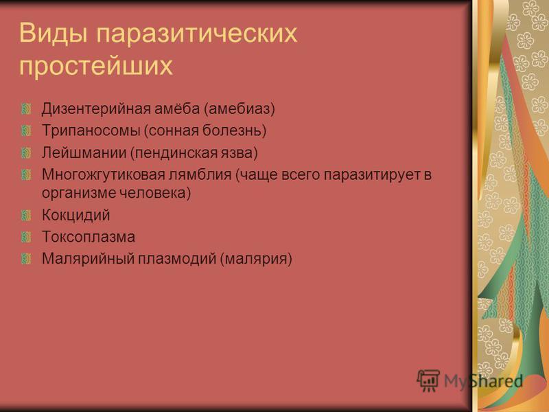 Виды паразитических простейших Дизентерийная амёба (амебиаз) Трипаносомы (сонная болезнь) Лейшмании (пендинская язва) Многожгутиковая лямблия (чаще всего паразитирует в организме человека) Кокцидий Токсоплазма Малярийный плазмодий (малярия)