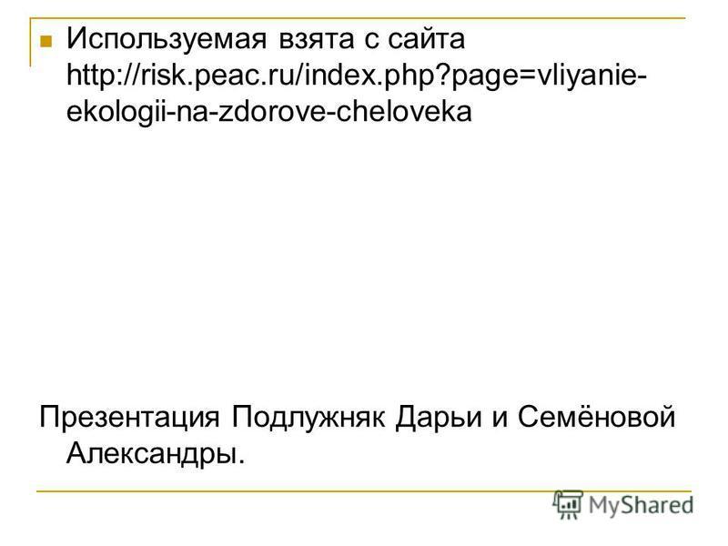 Используемая взята с сайта http://risk.peac.ru/index.php?page=vliyanie- ekologii-na-zdorove-cheloveka Презентация Подлужняк Дарьи и Семёновой Александры.