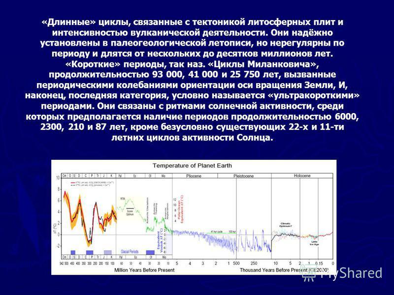 «Длинные» циклы, связанные с тектоникой литосферных плит и интенсивностью вулканической деятельности. Они надёжно установлены в палеогеологической летописи, но нерегулярны по периоду и длятся от нескольких до десятков миллионов лет. «Короткие» период