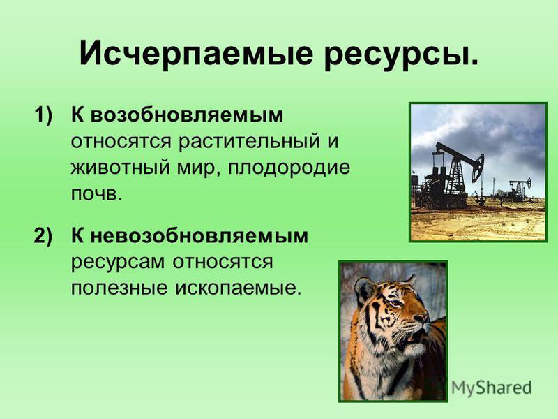 Исчерпаемые ресурсы. 1)К возобновляемым относятся растительный и животный мир, плодородие почв. 2)К невозобновляемым ресурсам относятся полезные ископаемые.