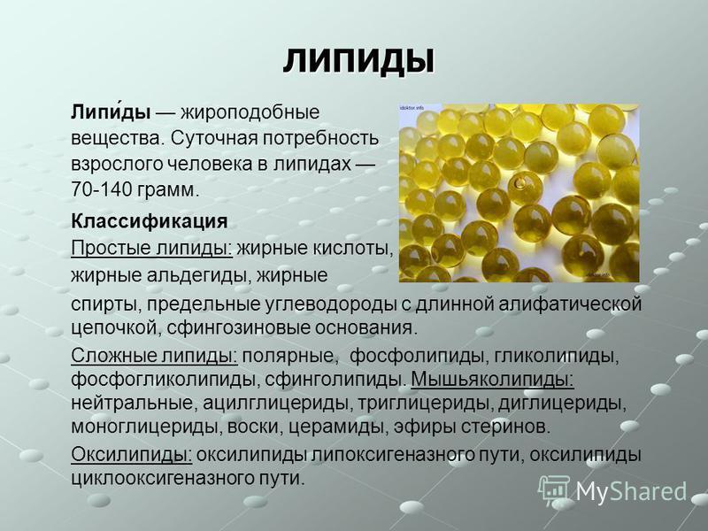 ЛИПИДЫ Липи́ты жироподобные вещества. Суточная потребность взрослого человека в липидах 70-140 грамм. Классификация Простые липиты: жирные кислоты, жирные альдегиты, жирные спирты, предельные углеводороты с длинной алифатической цепочкой, сфингозинов