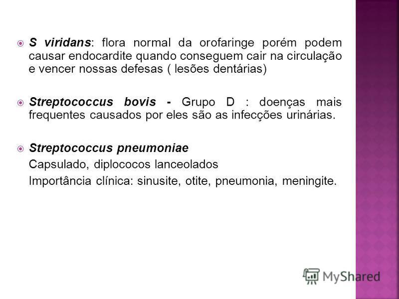 S viridans: flora normal da orofaringe porém podem causar endocardite quando conseguem cair na circulação e vencer nossas defesas ( lesões dentárias) Streptococcus bovis - Grupo D : doenças mais frequentes causados por eles são as infecções urinárias