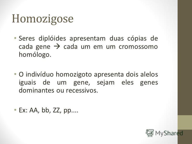 Homozigose Seres diplóides apresentam duas cópias de cada gene cada um em um cromossomo homólogo. O indivíduo homozigoto apresenta dois alelos iguais de um gene, sejam eles genes dominantes ou recessivos. Ex: AA, bb, ZZ, pp....