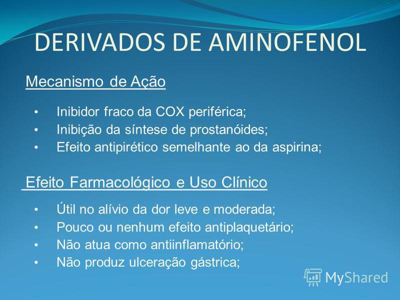 DERIVADOS DE AMINOFENOL Mecanismo de Ação Inibidor fraco da COX periférica; Inibição da síntese de prostanóides; Efeito antipirético semelhante ao da aspirina; Efeito Farmacológico e Uso Clínico Útil no alívio da dor leve e moderada; Pouco ou nenhum