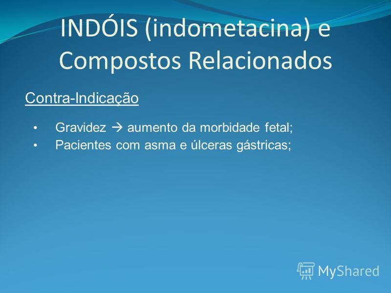 INDÓIS (indometacina) e Compostos Relacionados Contra-Indicação Gravidez aumento da morbidade fetal; Pacientes com asma e úlceras gástricas;